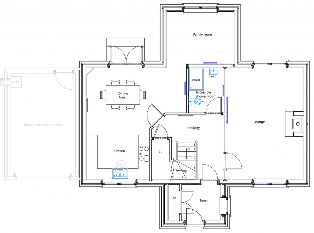 Ground Floor Plan - House Type F of Durward Gardens